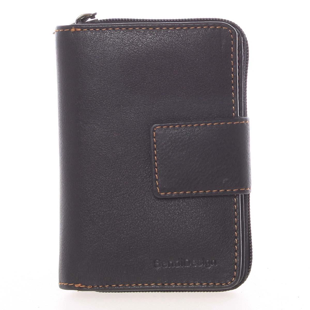 Kvalitní kožená dámská prošívaná peněženka černá - SendiDesign Reta