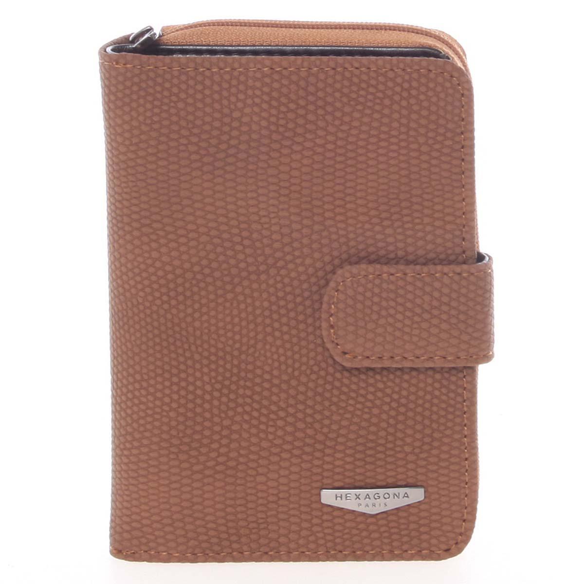 Originální dámská dvoudílná hnědá peněženka - HEXAGONA Reezzi