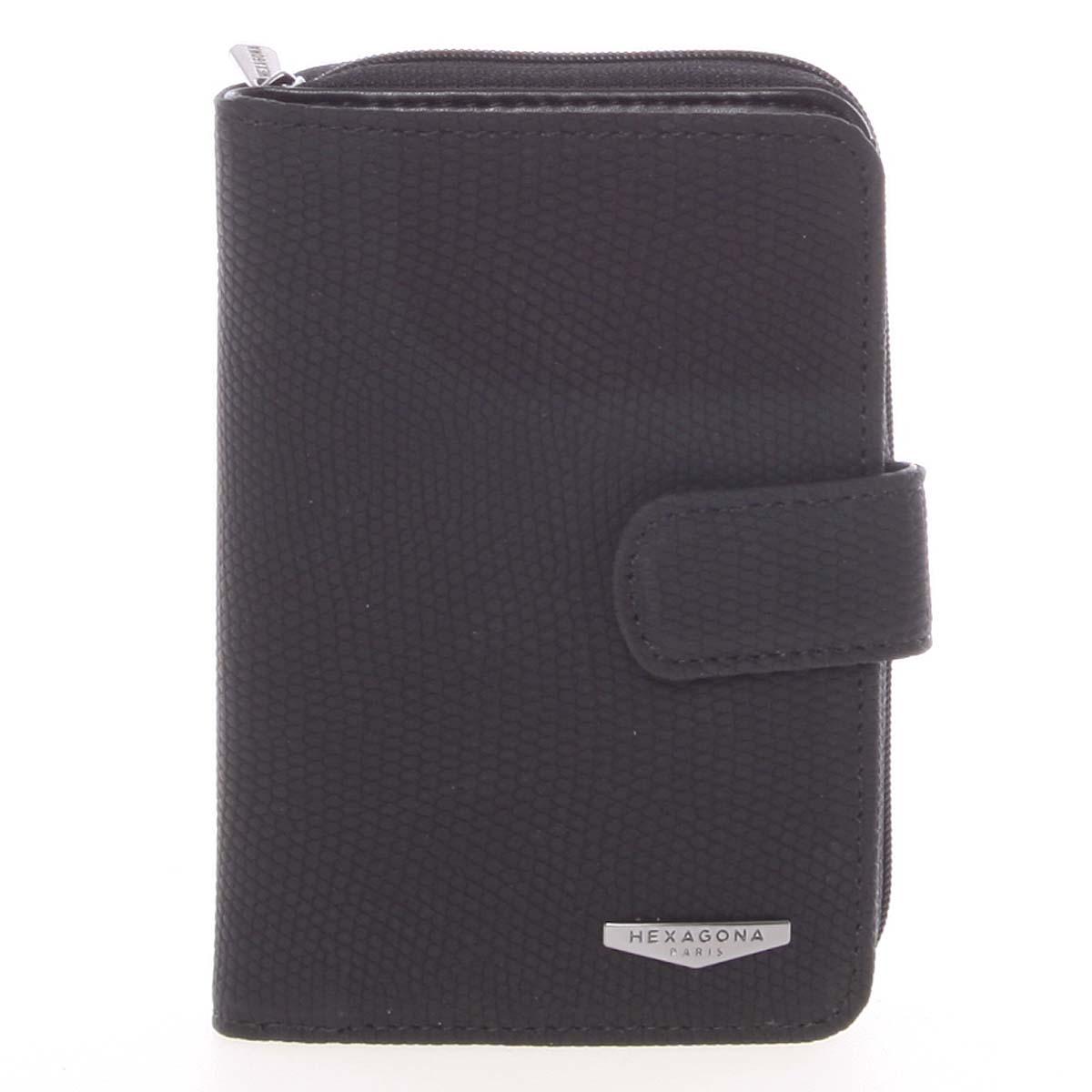 Originální dámská dvoudílná černá peněženka - HEXAGONA Reezzi