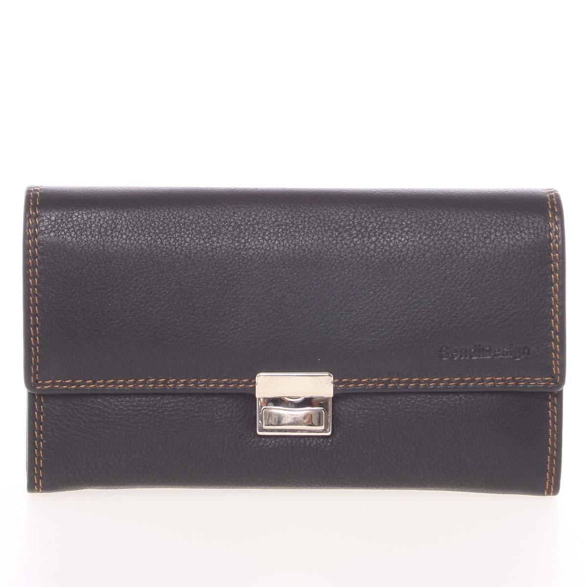 Luxusní velká kožená prošívaná kasírtaška černá - SendiDesign Basilea