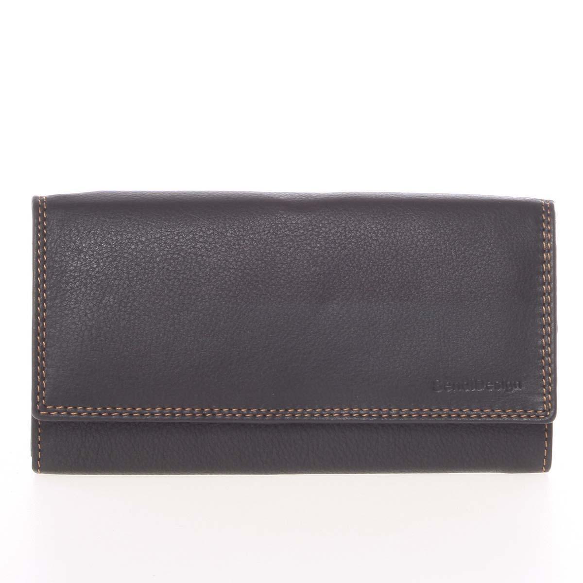 Dámská černá kožená prošívaná peněženka - SendiDesign Phoibe