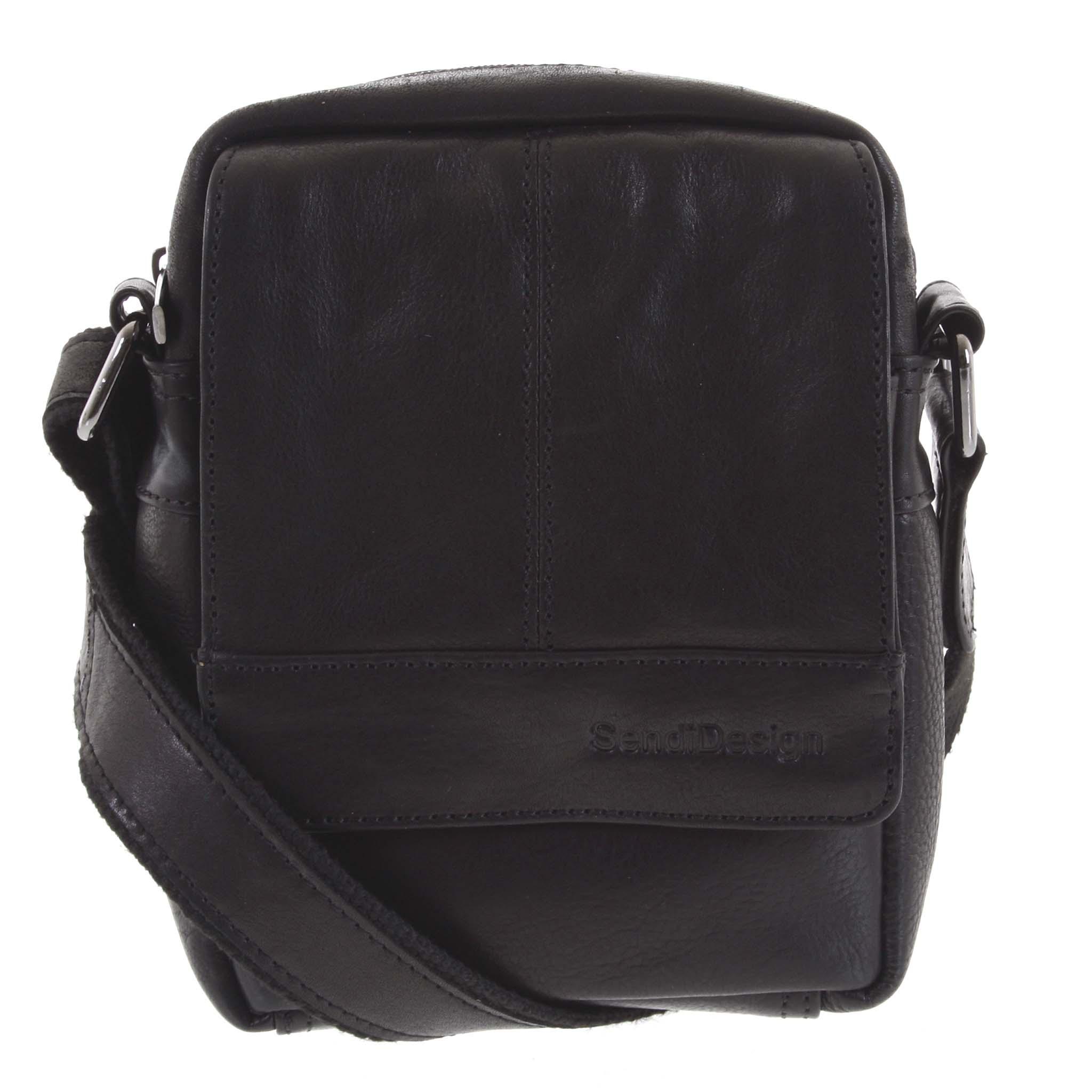 Pánská kožená crossbody taška na doklady černá - SendiDesign Niall