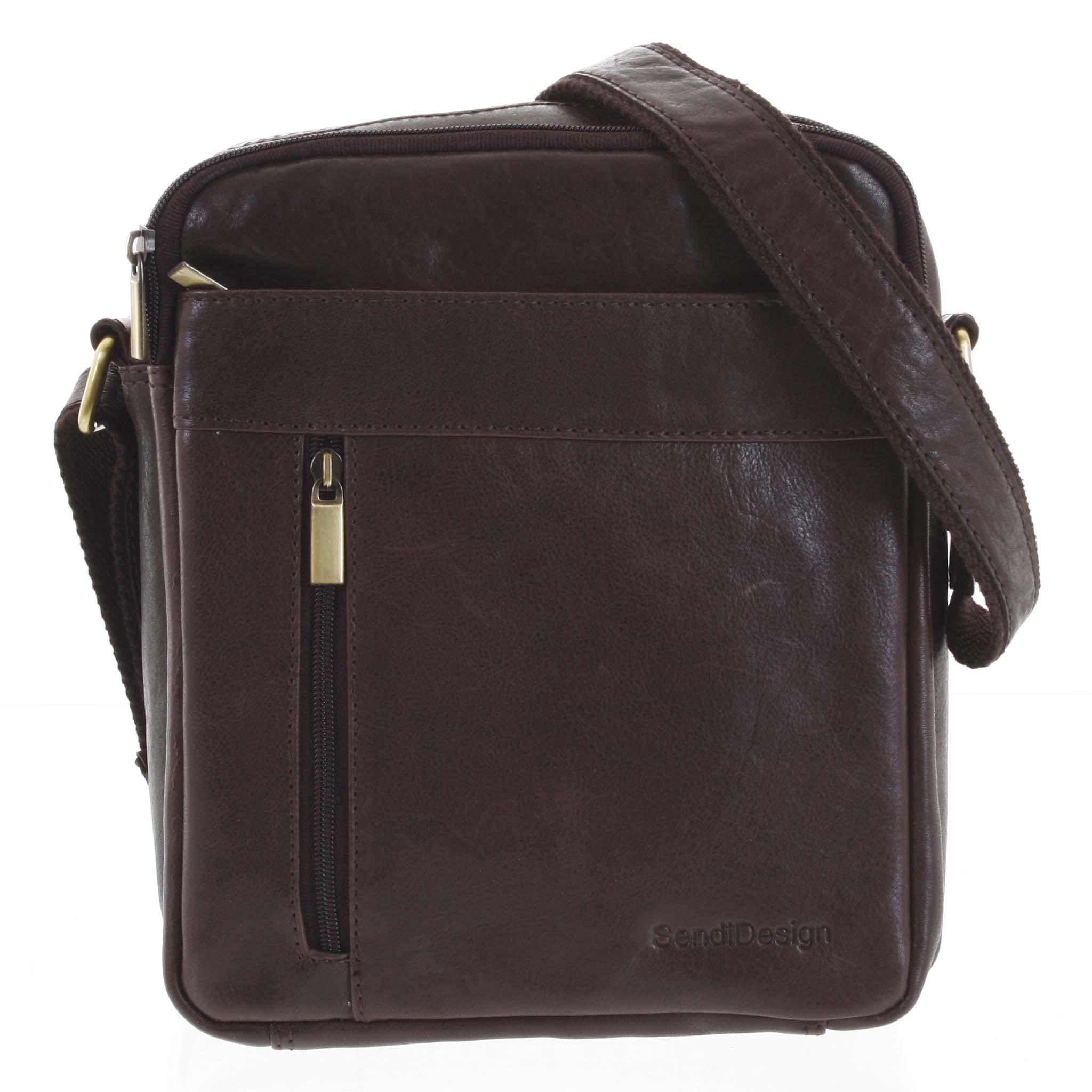 Pánská kožená taška přes rameno tmavě hnědá - SendiDesign Lennon
