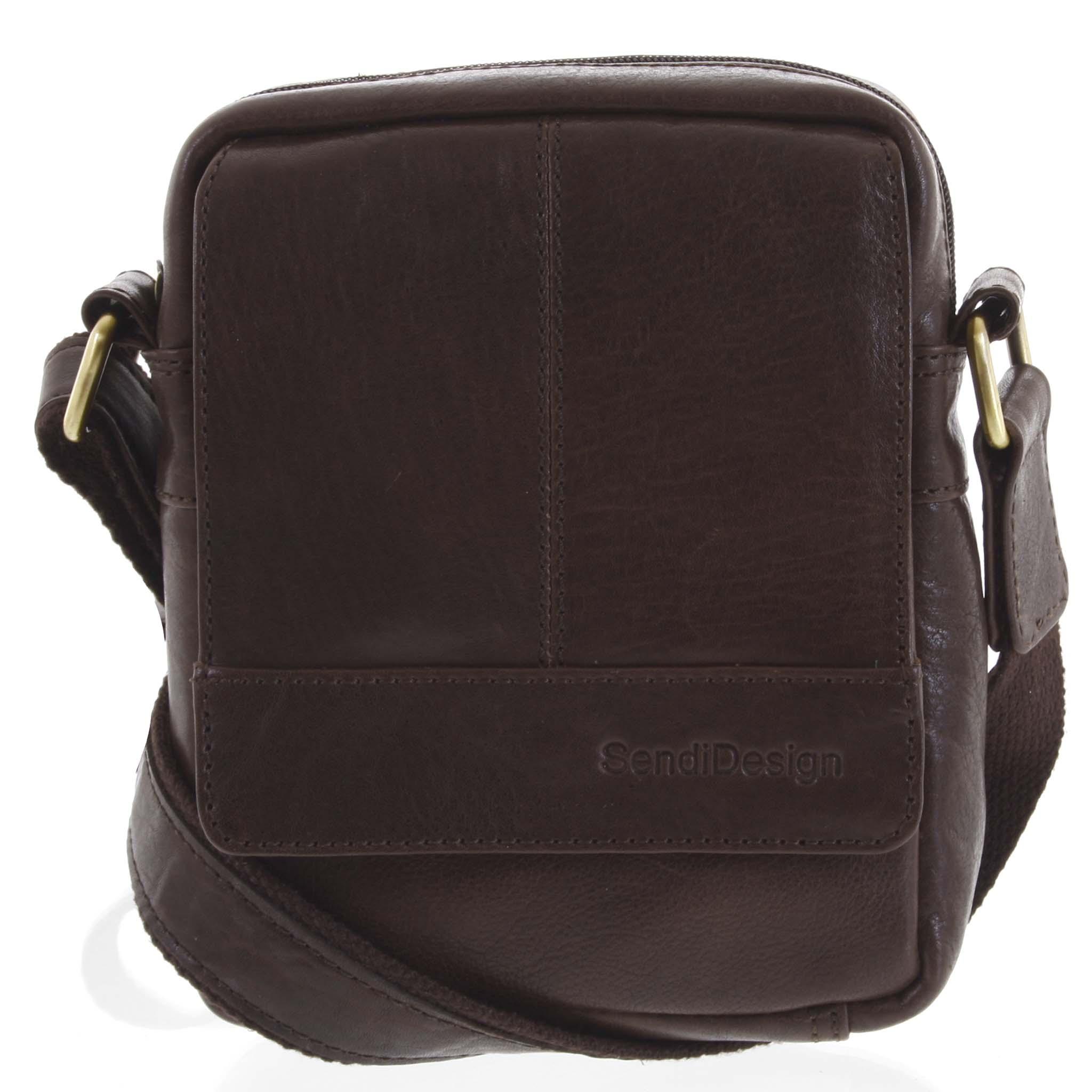 Pánská kožená crossbody taška na doklady tmavě hnědá - SendiDesign Niall