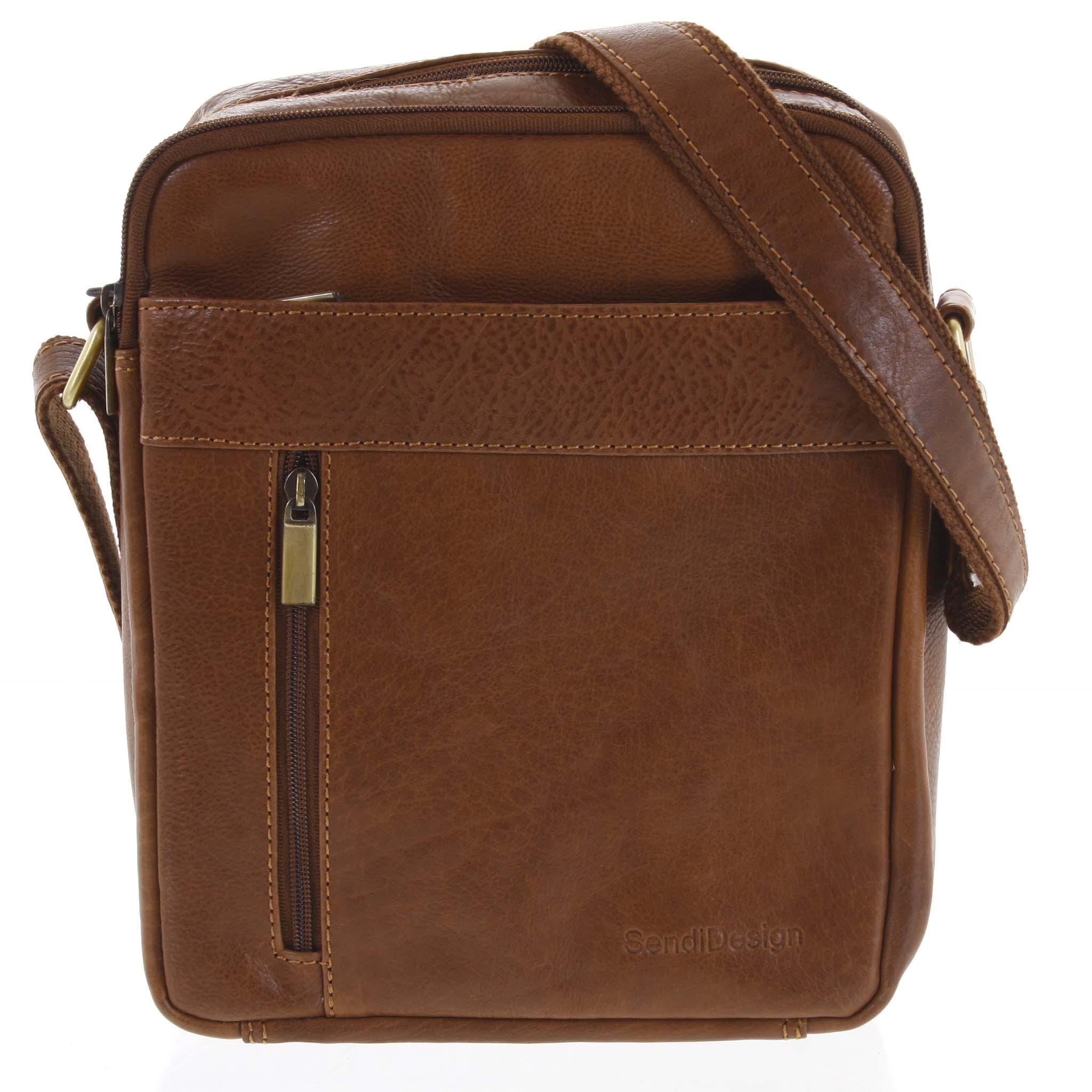 Pánská kožená taška přes rameno hnědá - SendiDesign Lennon