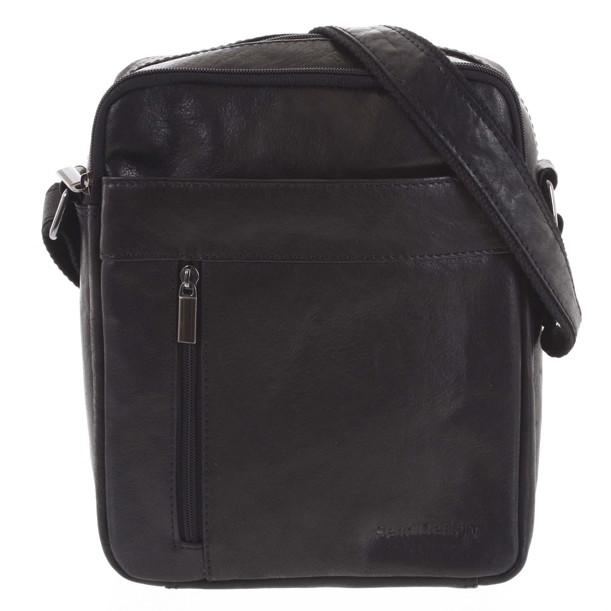 Pánská kožená taška přes rameno černá - SendiDesign Lennon