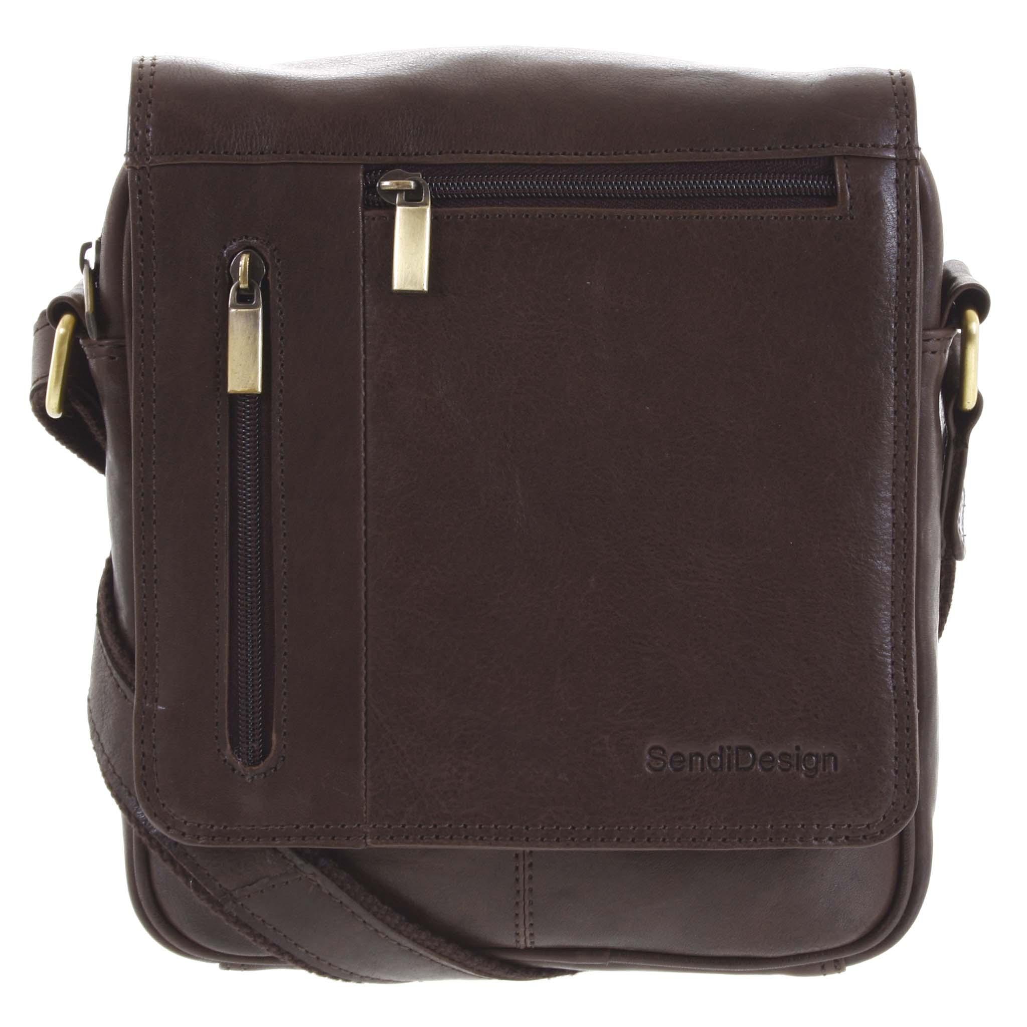 Pánská kožená taška přes rameno tmavě hnědá - SendiDesign Thoreau