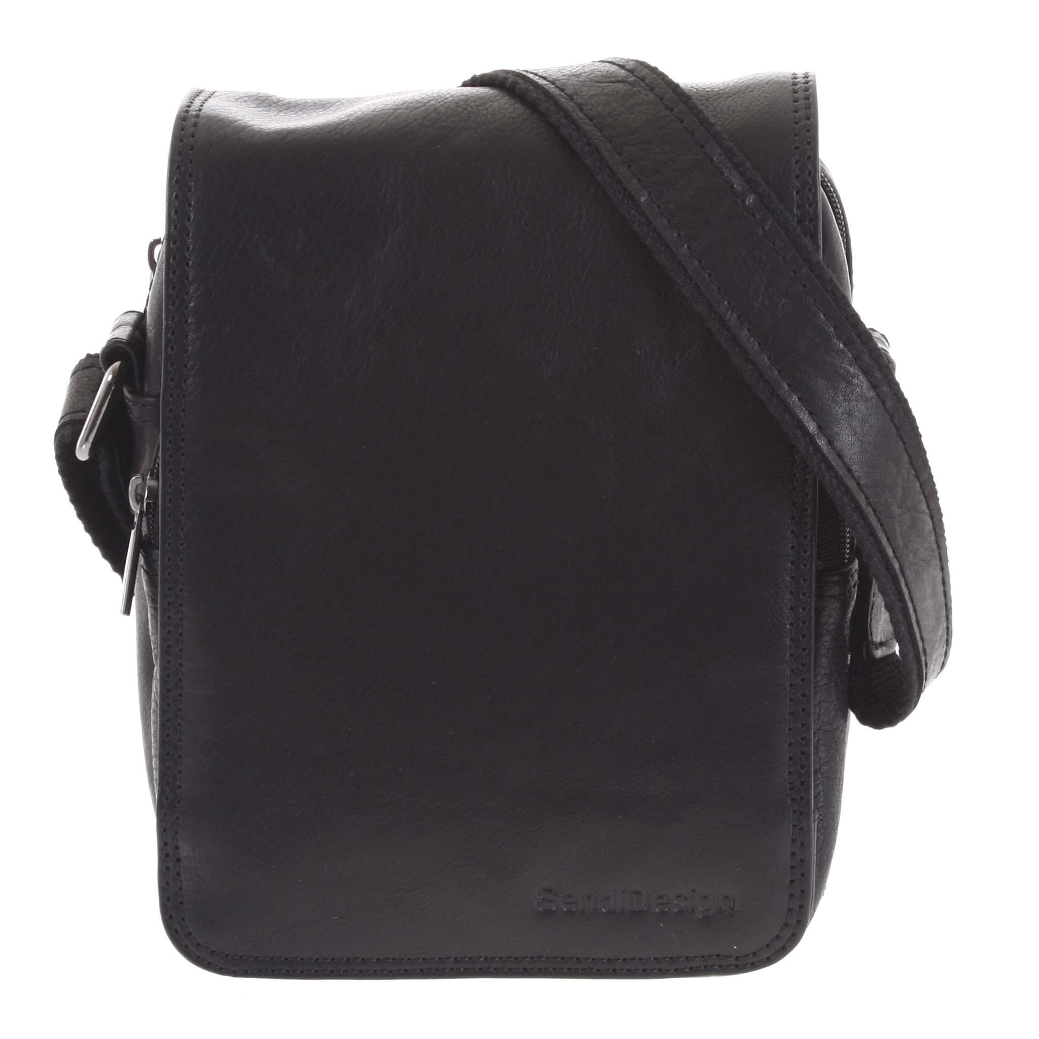 Pánská kožená taška přes rameno černá - SendiDesign Muxos