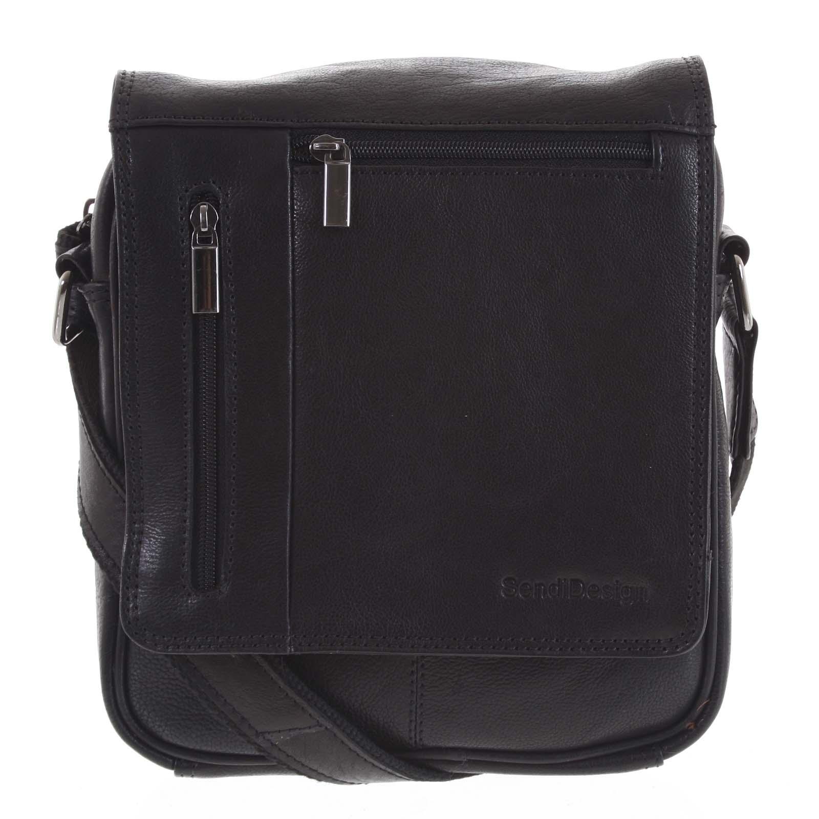Pánská kožená taška přes rameno černá - SendiDesign Thoreau
