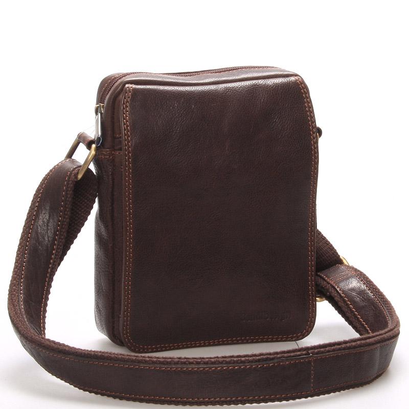 Pánská kožená taška na doklady přes rameno hnědá - SendiDesign Dumont