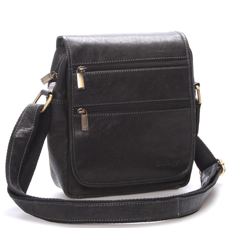 Elegantní pánská kožená taška přes rameno černá - SendiDesign Garnell