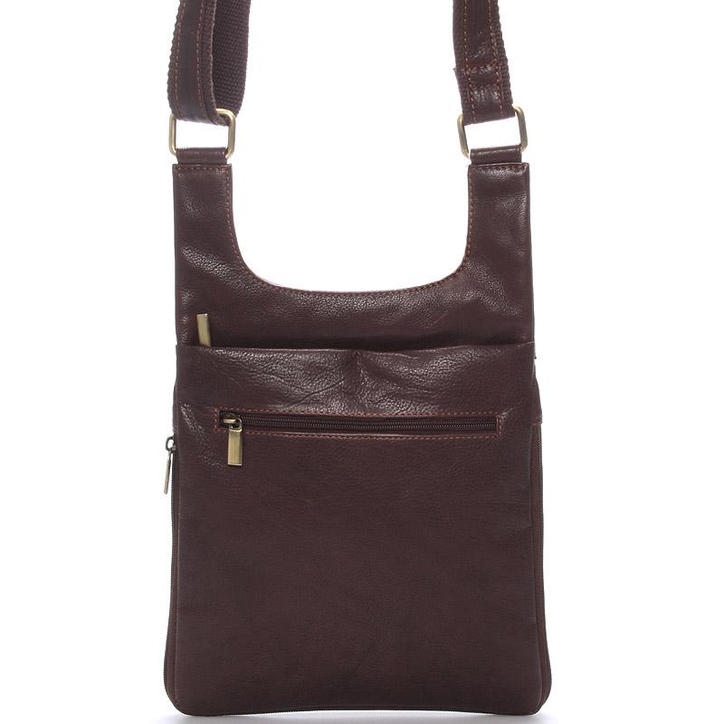 Moderní pánská kožená taška přes rameno hnědá - SendiDesign Leverett