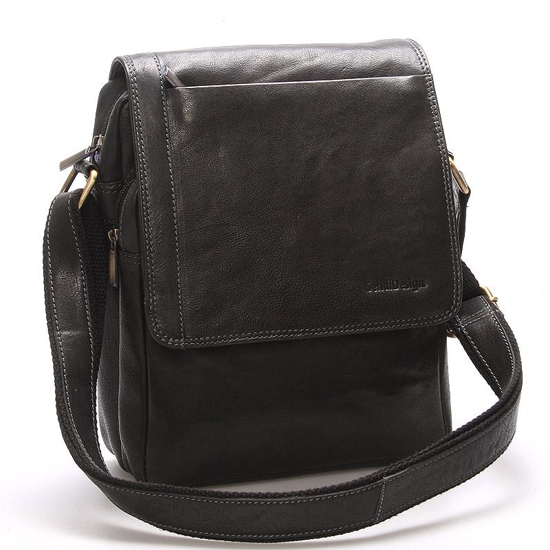 Módní pánská kožená taška přes rameno černá - SendiDesign Sage