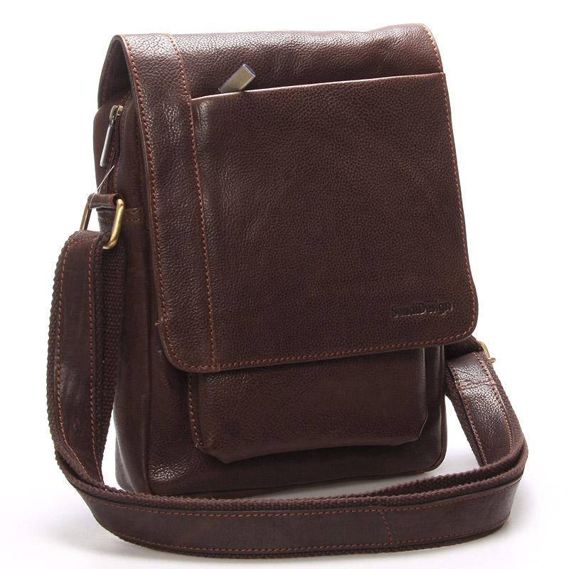 Originální pánská kožená taška přes rameno hnědá - SendiDesign Lenard