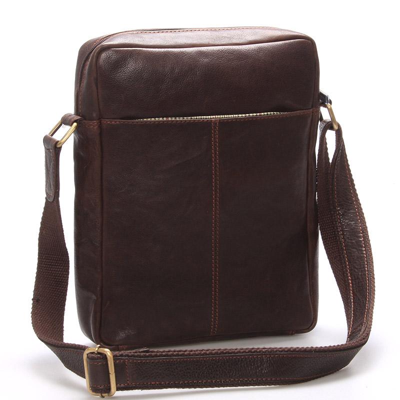 Elegantní pánská kožená taška přes rameno hnědá - SendiDesign Turner
