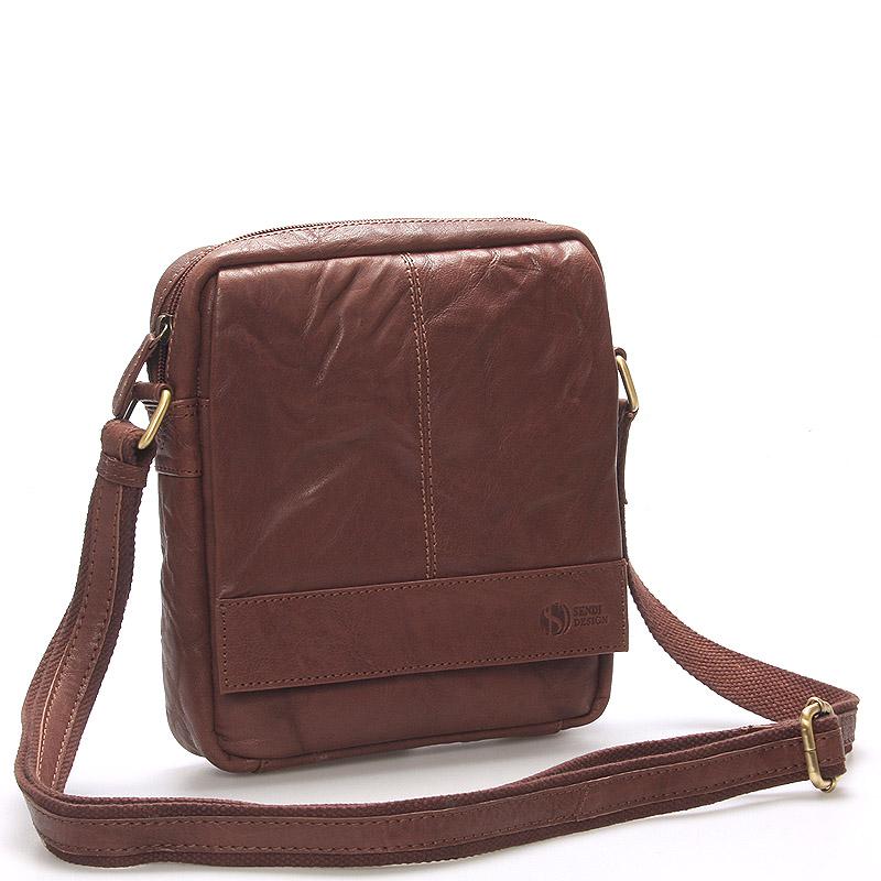 Pánská hnědá prošívaná kožená taška - Sendi Design Bris