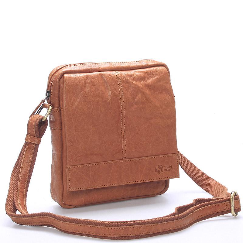 Pánská světle hnědá prošívaná kožená taška - Sendi Design Bris
