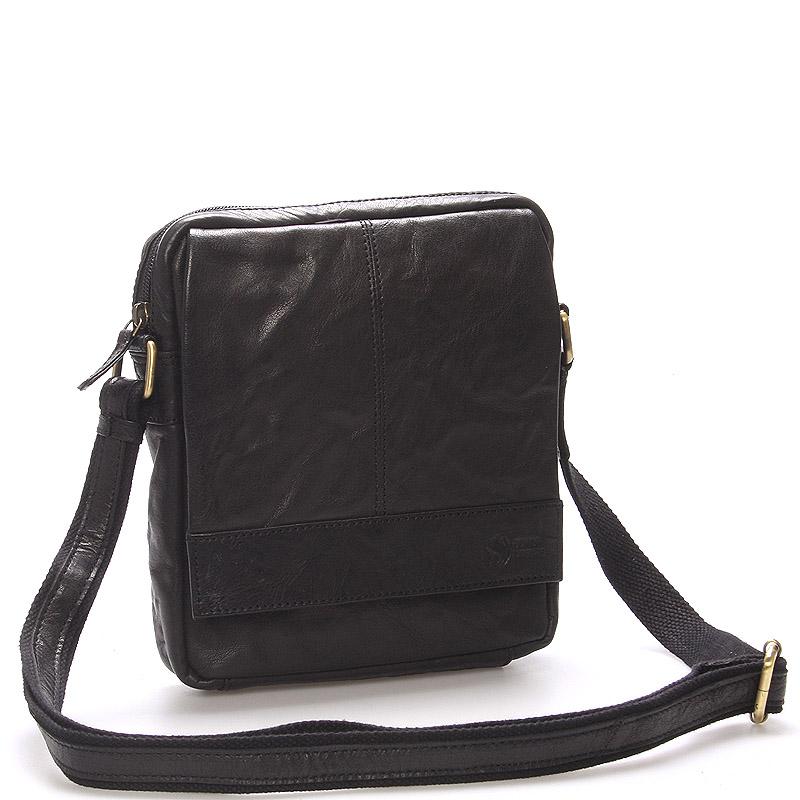 Pánská černá prošívaná kožená taška - Sendi Design Bris