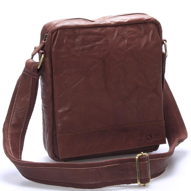 Luxusní velká kožená crossbody taška hnědá - Sendi Design Diverze