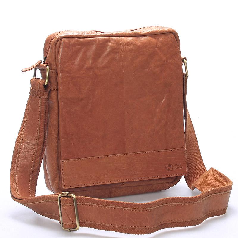 Luxusní velká kožená crossbody taška světle hnědá - Sendi Design Diverze