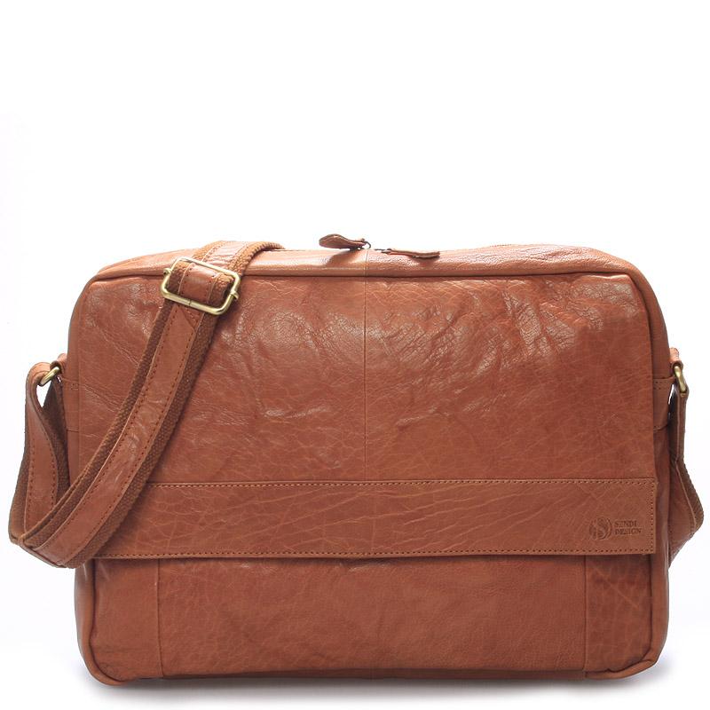 Velká luxusní pánská kožená taška světle hnědá - Sendi Design Nethard