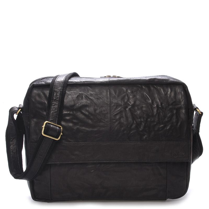 Velká luxusní pánská kožená taška černá - Sendi Design Nethard