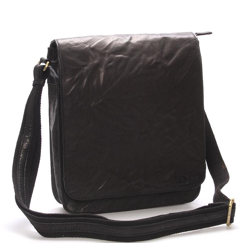 Větší černá crossbody pánská kožená brašna - Sendi Design Daril