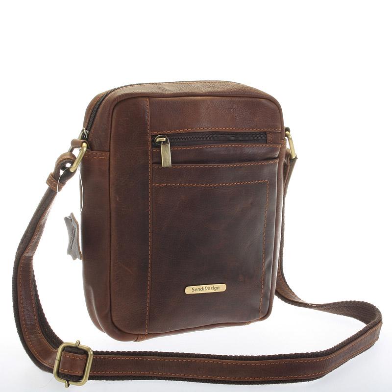 Perfektní pánská hnědá kožená taška - Sendi Design Halir