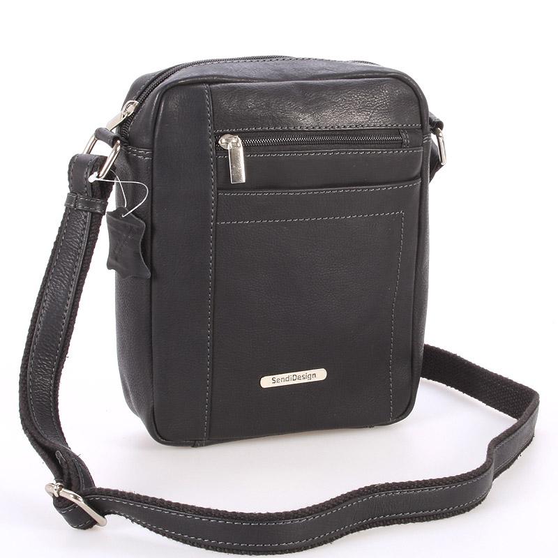 Perfektní pánská černá kožená taška - Sendi Design Halir