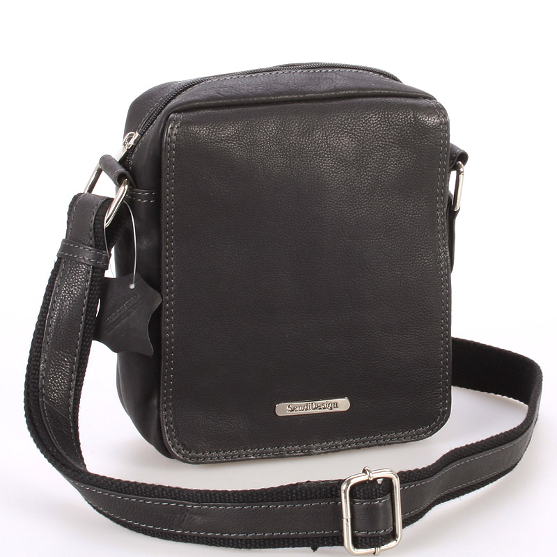 Menší černá pánská kožená taška - Sendi Design Merlin