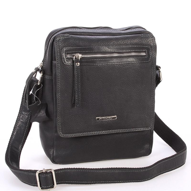 Černá kožená pánská taška přes rameno - Sendi Design Helio