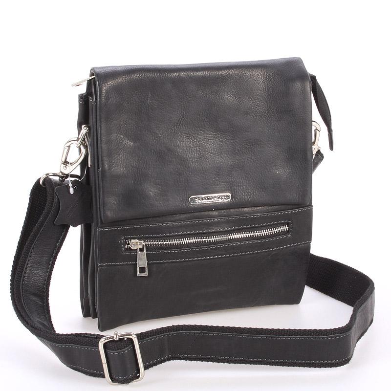 Kvalitní černá pánská kožená taška - Sendi Design Hektor