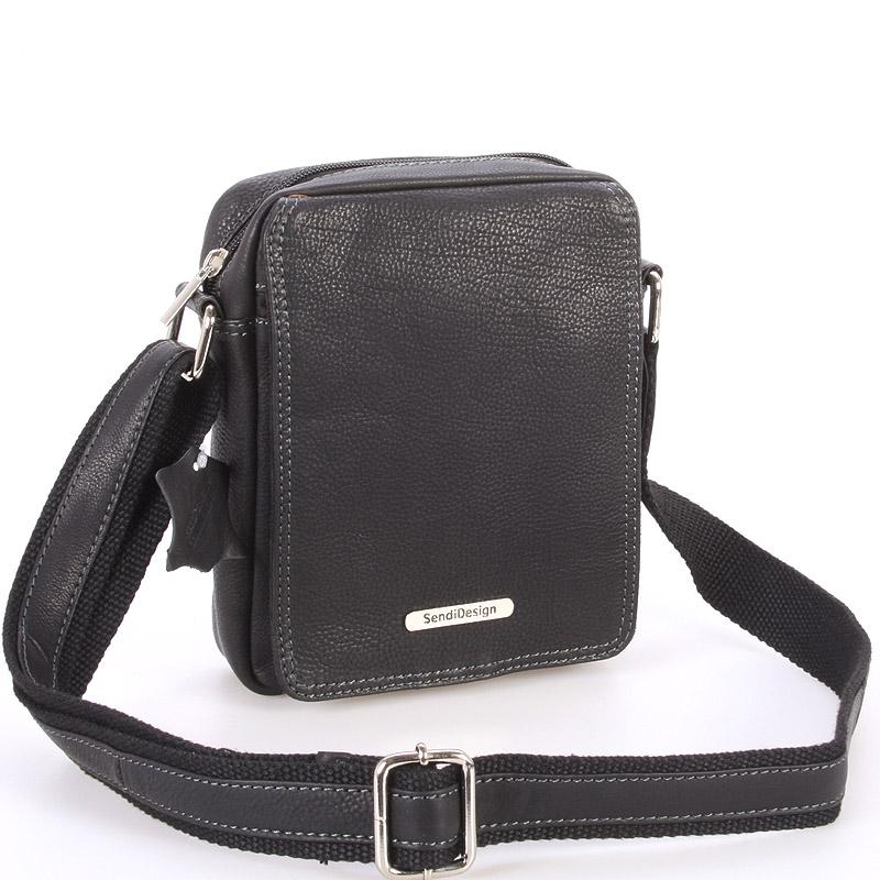 Menší černá pánská kožená taška - Sendi Design Merl