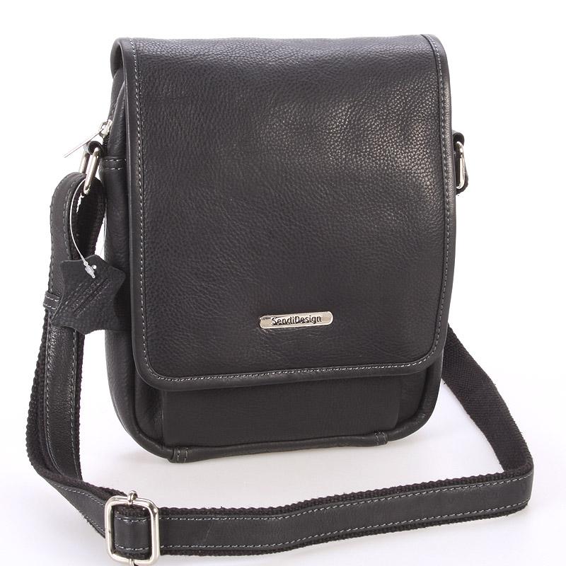 Černá luxusní kožená pánská taška - Sendi Design Heliodoros