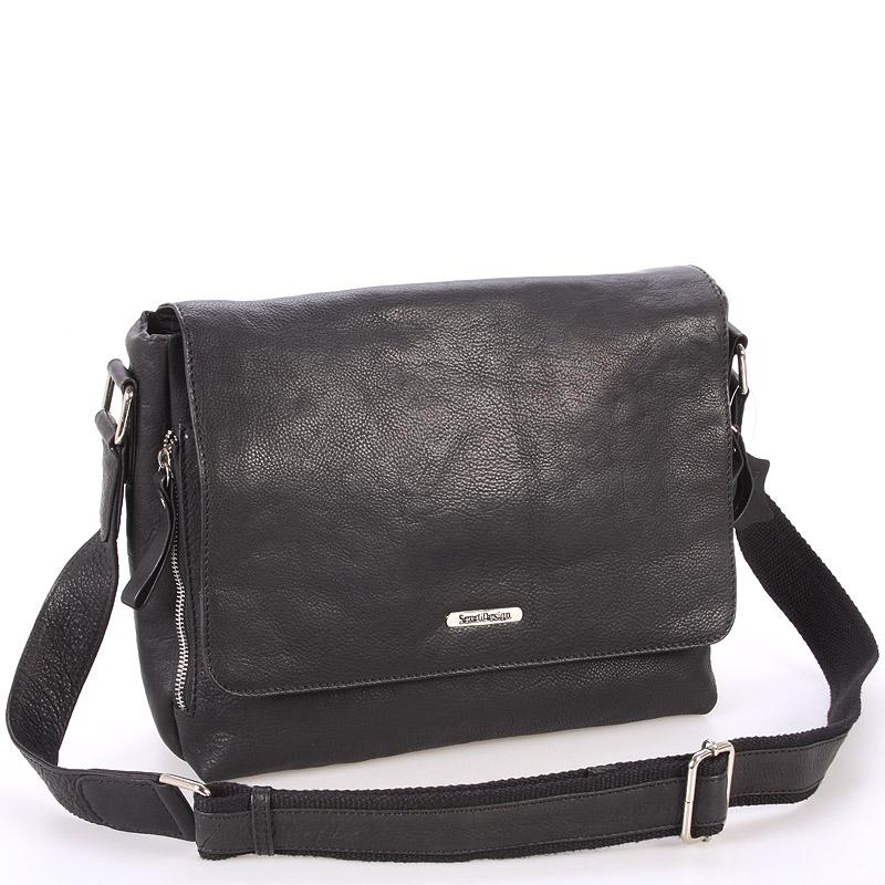 Černá luxusní velká kožená taška - Sendi Design Hermes