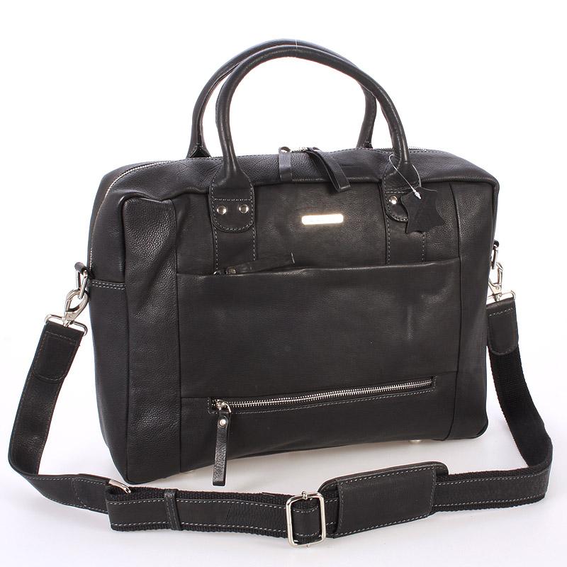 Černá luxusní a kvalitní kožená taška - Sendi Design Hero