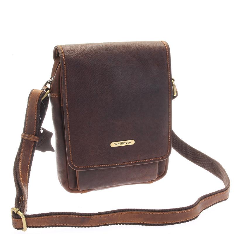 Hnědá luxusní kožená pánská taška - Sendi Design Heliodoros