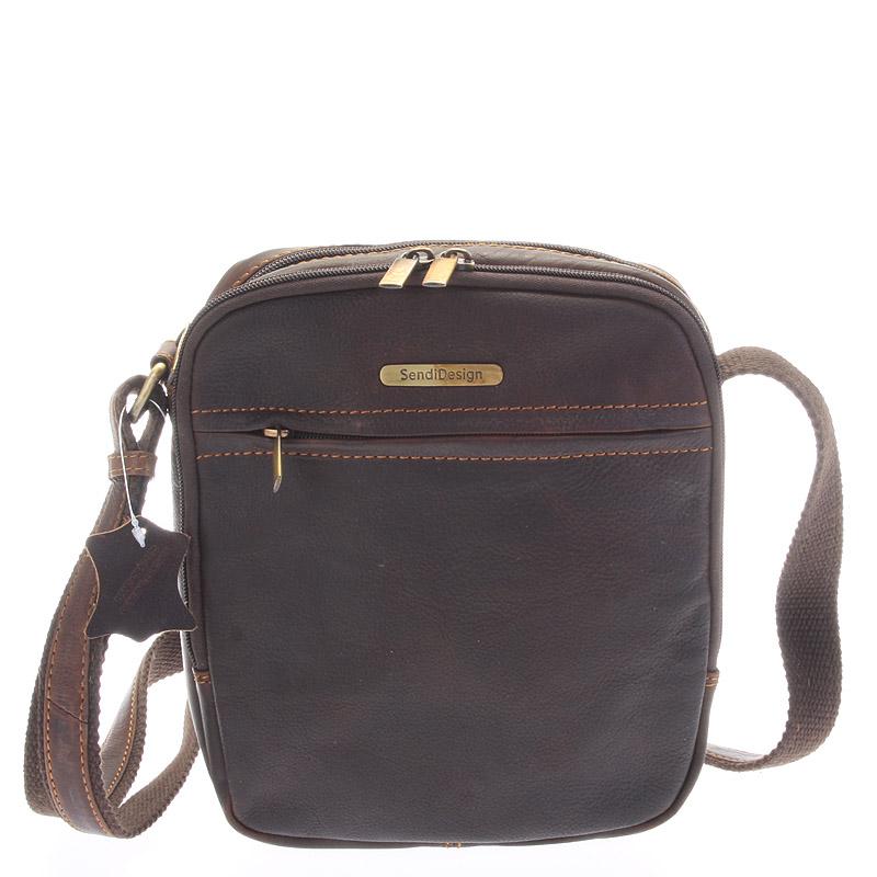 Hnědá pánská stylová kožená taška - Sendi Design Heracles