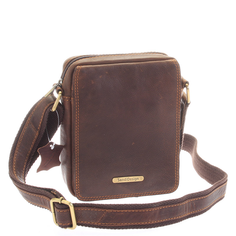 Menší hnědá pánská kožená taška - Sendi Design Merl