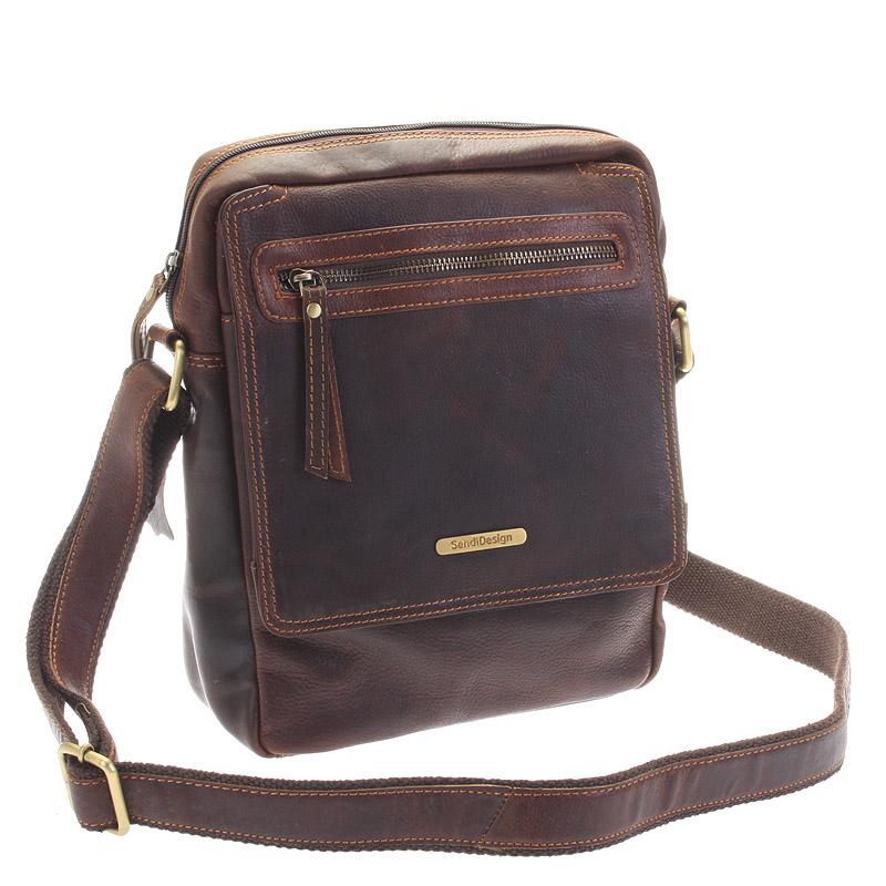Hnědá kožená pánská taška přes rameno - Sendi Design Helio