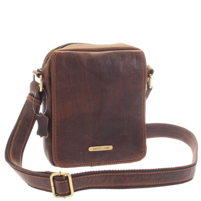 Menší hnědá pánská kožená taška - Sendi Design Merlin