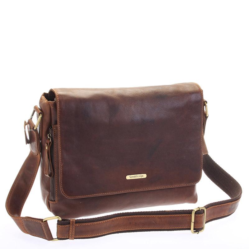 Hnědá luxusní velká kožená taška - Sendi Design Hermes