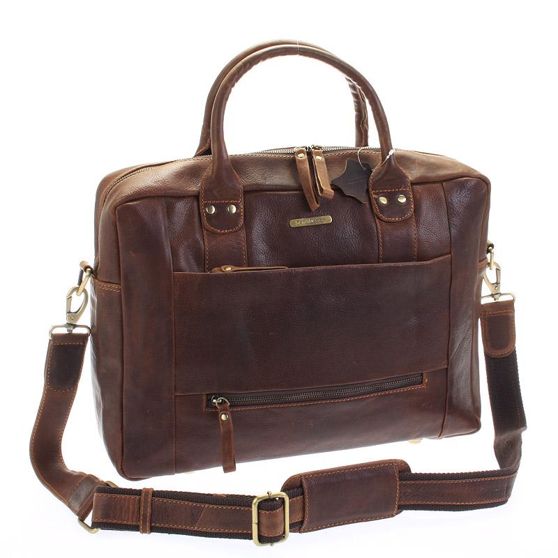 Hnědá luxusní a kvalitní kožená cestovní taška - Sendi Design Hero