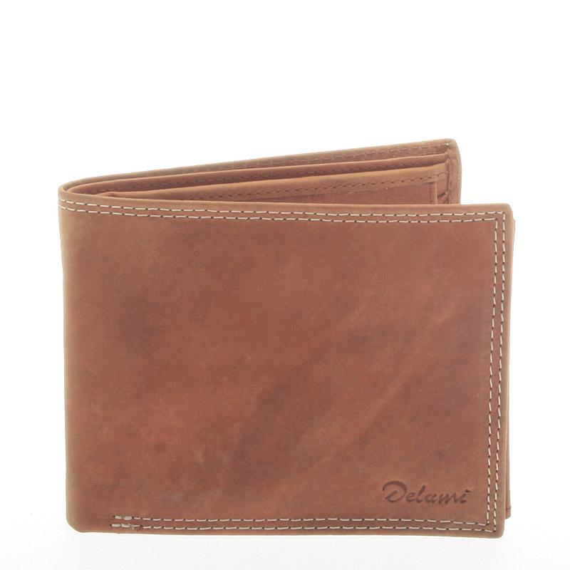 Pánská kožená peněženka světle hnědá - Delami NoNuppi
