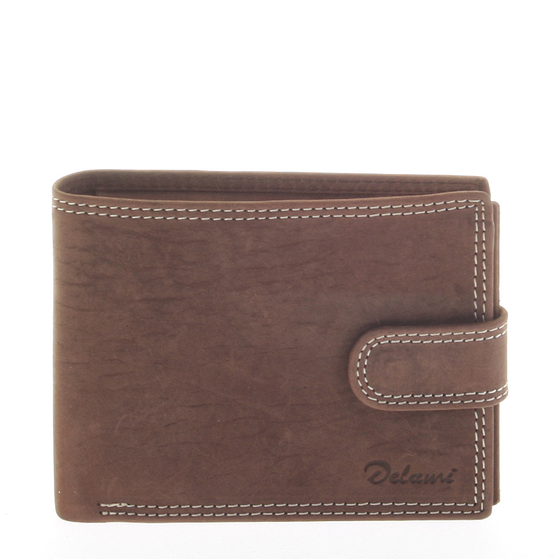 Pánská kožená hnědá peněženka - Delami 8945