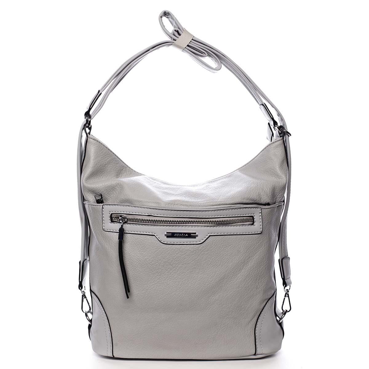 Dámská kabelka batoh světle šedá - Romina Zilla