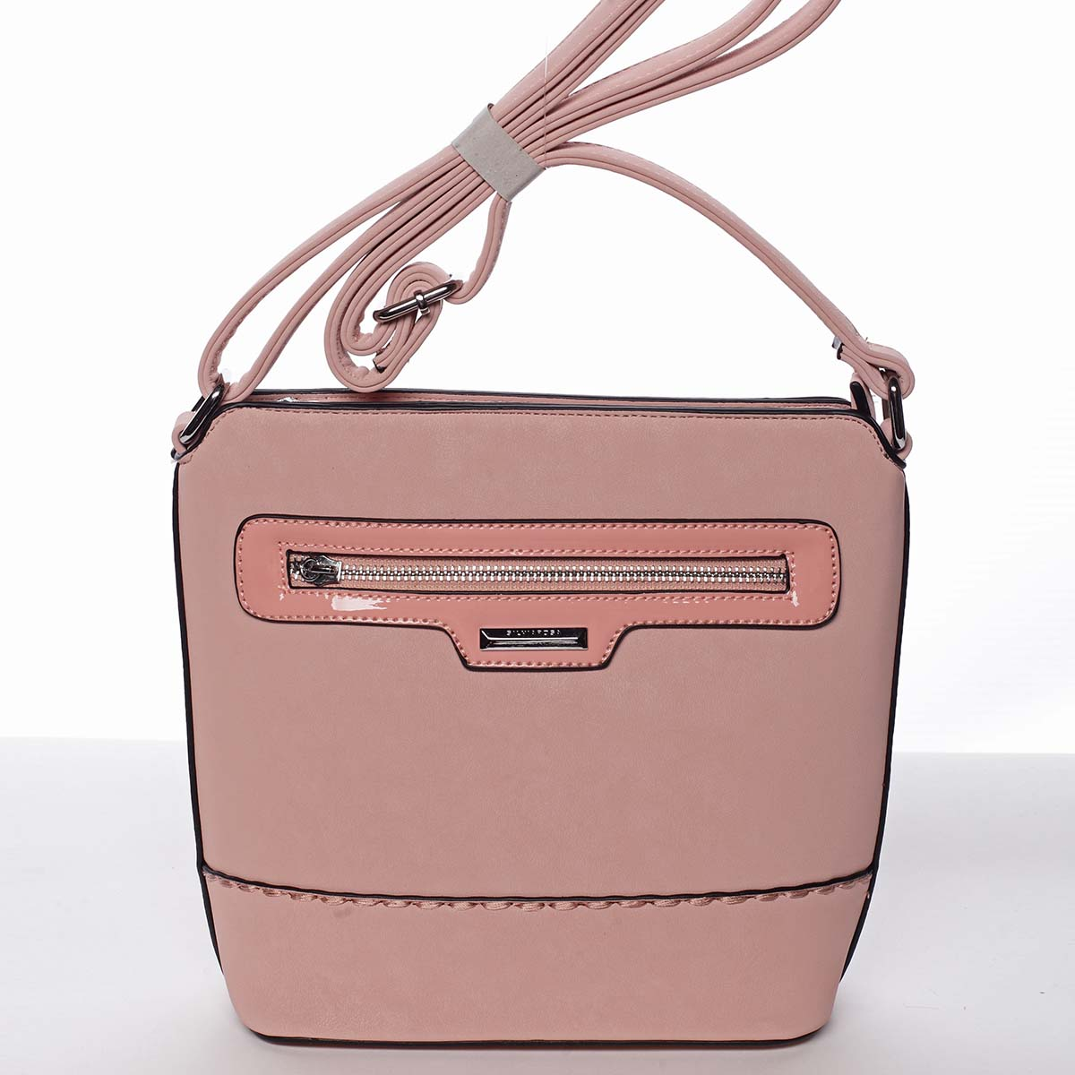 Elegantní dámská růžová crossbody kabelka - Silvia Rosa Meylin