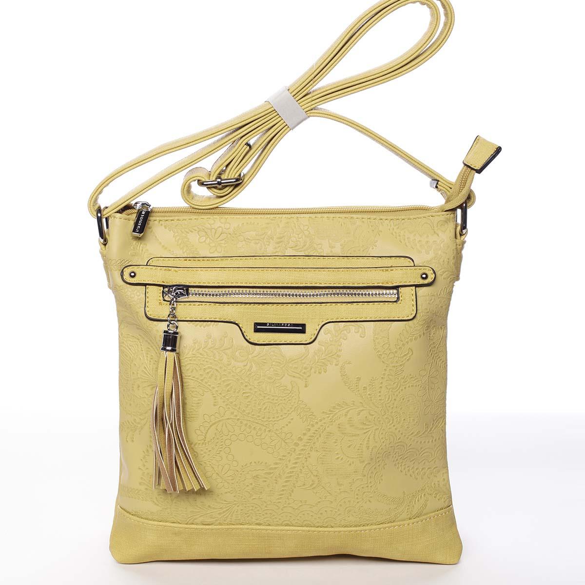 Módní dámská žlutá crossbody kabelka se vzorem - Silvia Rosa Gillian