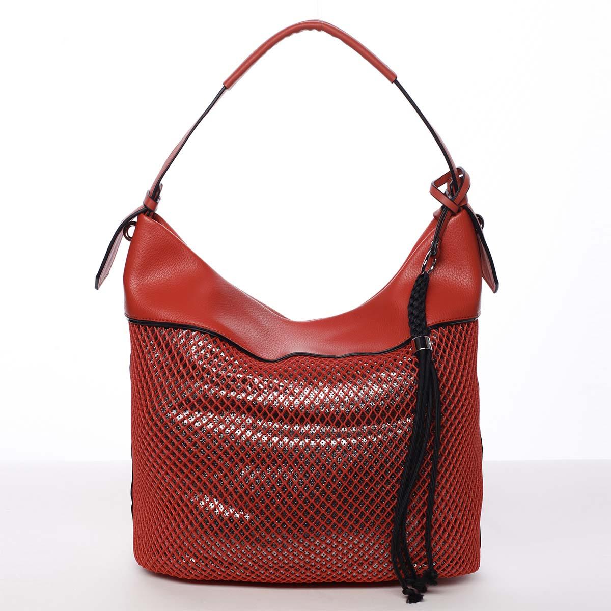 Velká perforovaná dámská kabelka přes rameno červená - Maria C Saghari