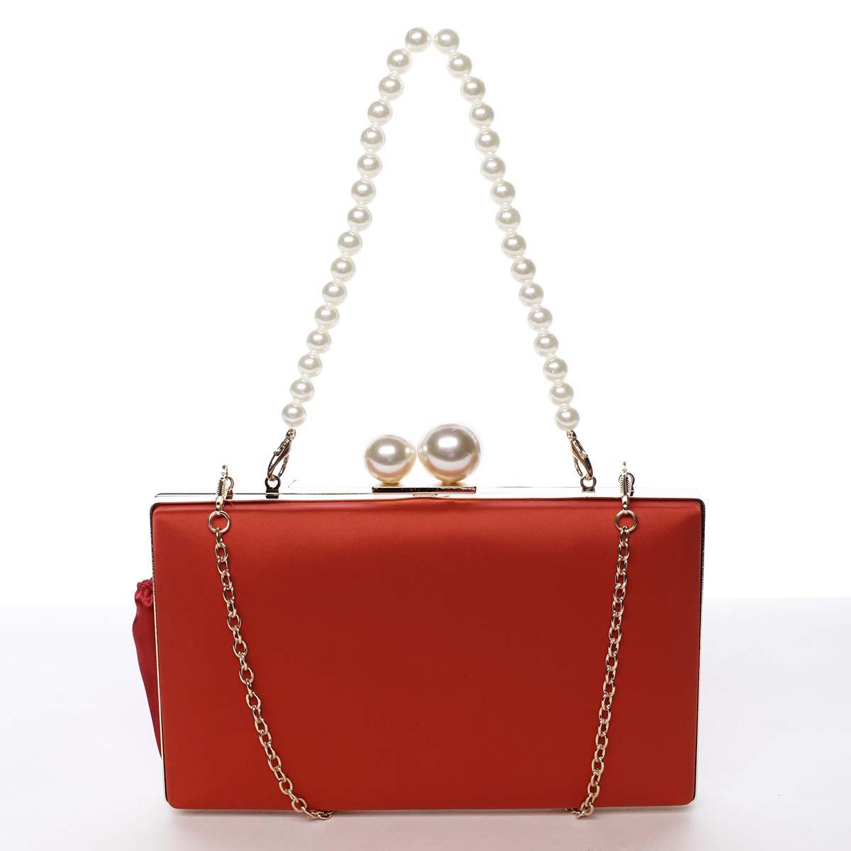 Luxusní dámské saténové psaníčko s perlami červené - Michelle Moon Seeland